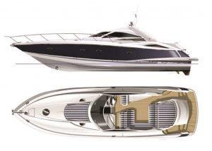 Sunseeker Portofino 53, Express yacht, port, deck, cockpit, swim platform, plan