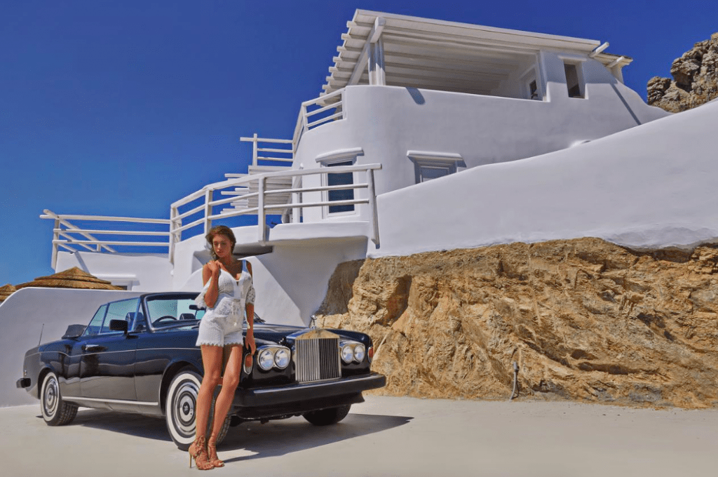 Top 10 Events in Mykonos for Legends Only Outdoor, villa, car, girl, balcony
