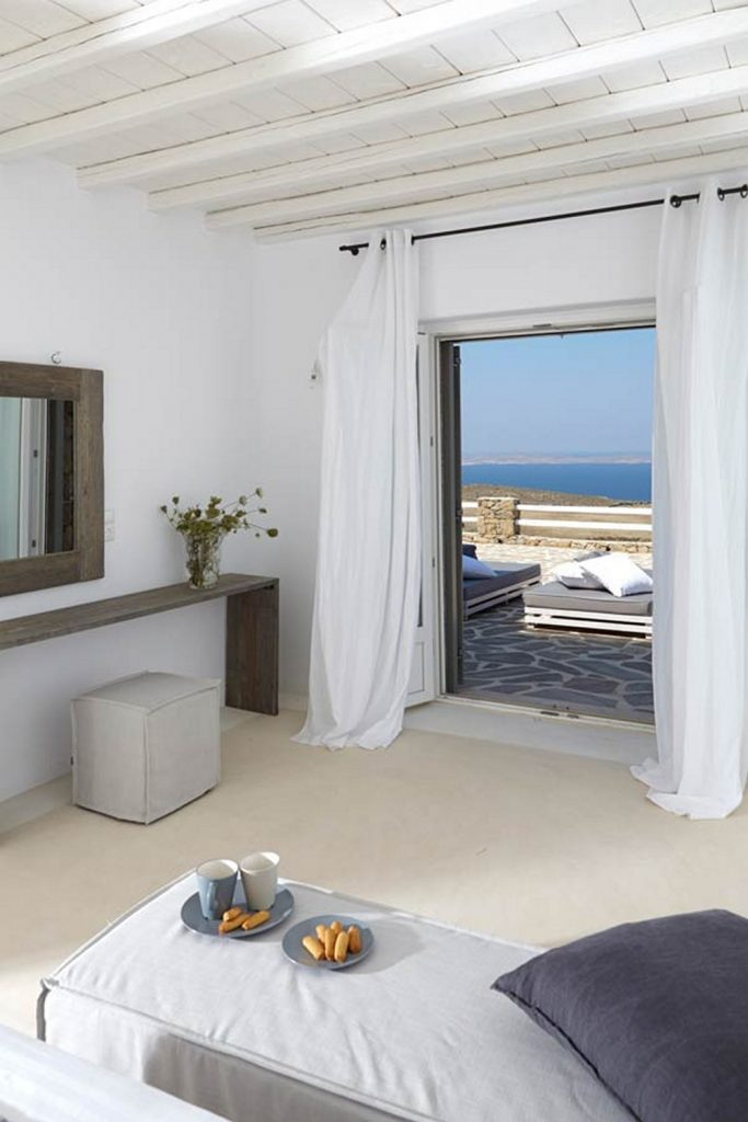 bedroom next to terrace with direct sea view