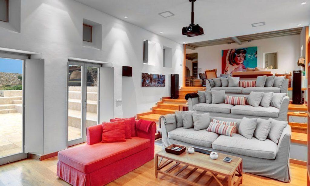 interior view of sofas and home cinema