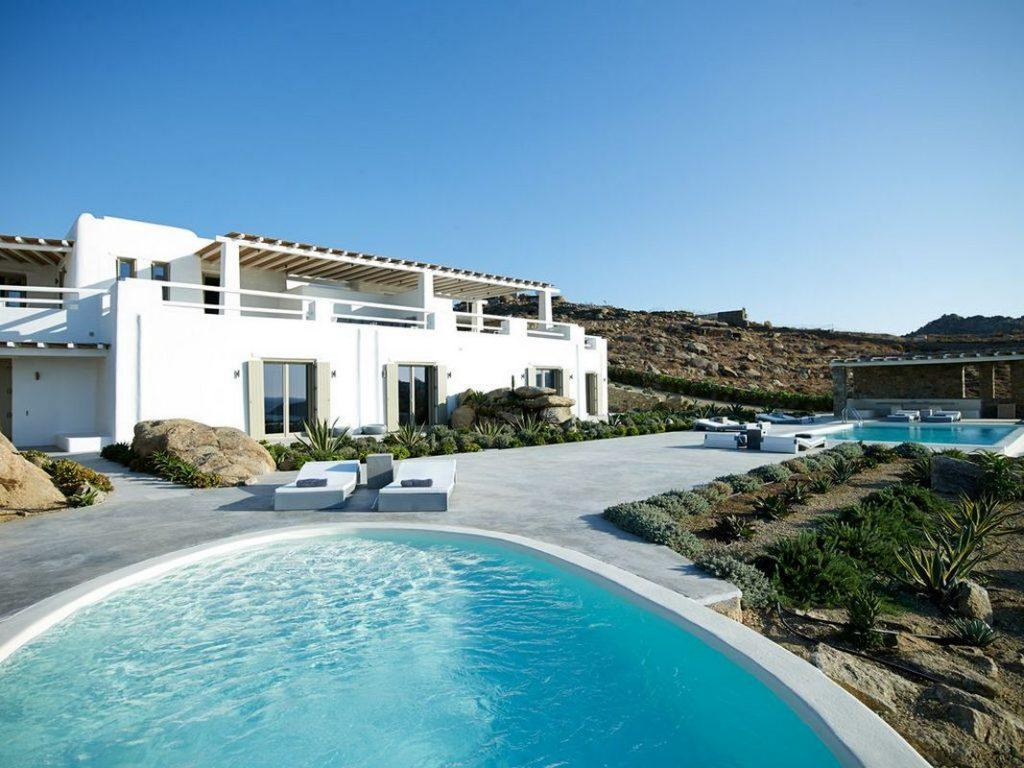 Villa Supreme Paraga Mykonos Exterior at the daylight, garden, swimming pools, sun beds