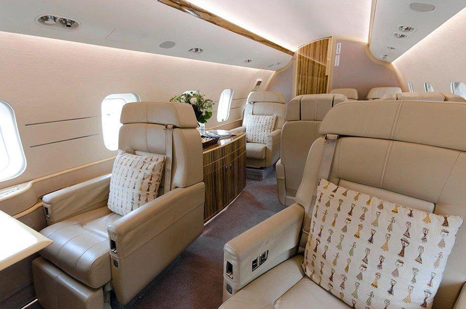 Global Express XRS Jet interior, Leather seats, Pillows, Cabinet
