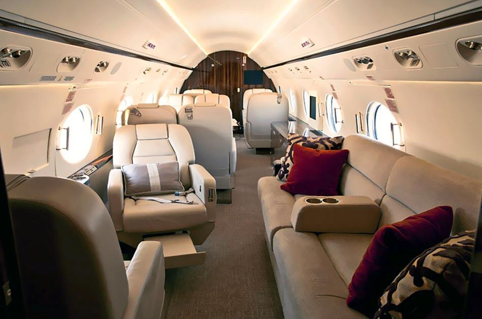 Gulfstream G450 Jet interior, Leather seats, Sofa, Pillows