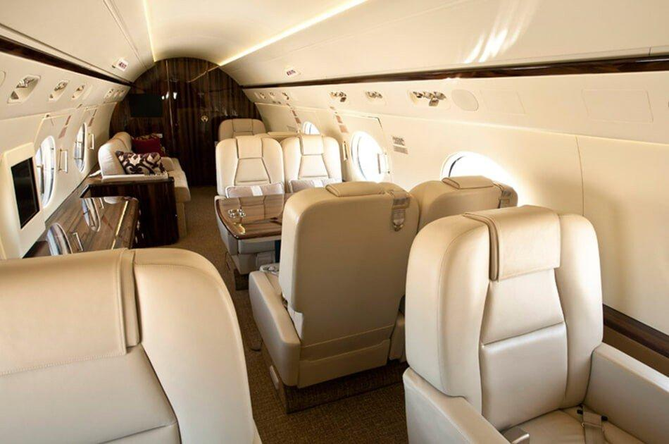 Gulfstream G450 Jet interior, Leather sets, Tables