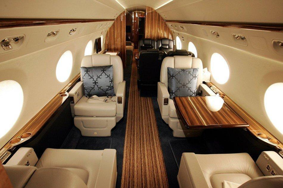 Gulfstream G550 Jet interior, Wooden design, Leather seats, Table