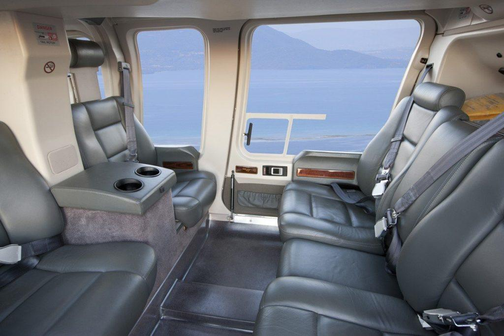 Bell 407, Helicopter, interior, leather seats, coffee table, panoramic seats