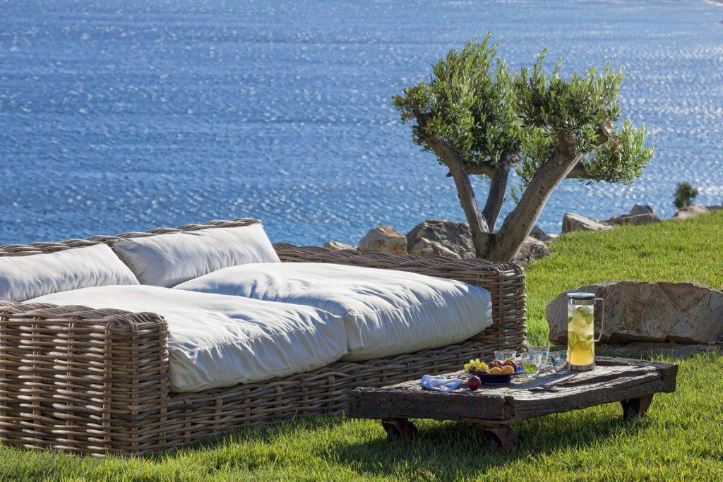 outdoor area with soft bed and table