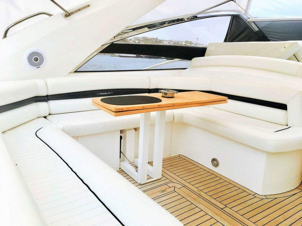 Sunseeker Portofino 53, Express yacht, cockpit, sofa, table, bimini
