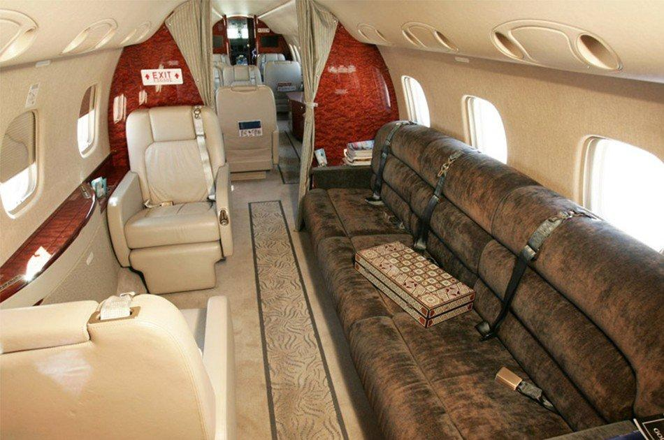 jet with huge comfort couch to relax during flight