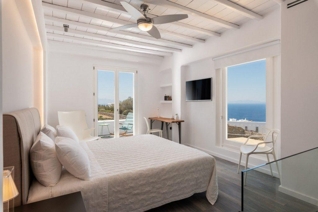 bedroom for nice dream with view of perfect blue sea