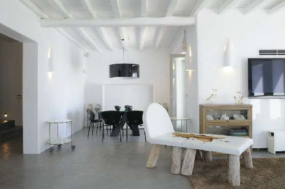 Villa Elizabeth, Aleomandra, Mykonos, lounge, cupboard, flat screen tv, dining table, chairs, stairs, wooden ceiling