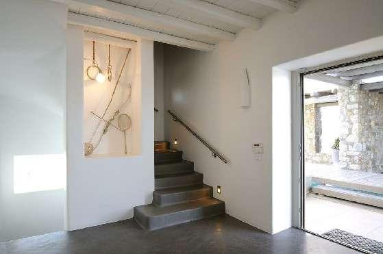 Villa Elizabeth, Aleomandra, Mykonos, hallway, marble stairs, front door, niche, wooden ceiling, decorative lighting