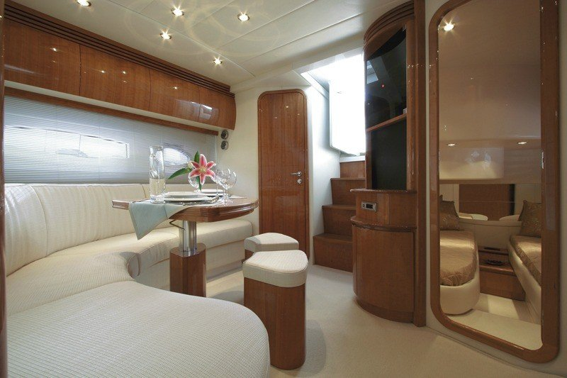 Pershing 46 Yacht interior, Sofa, Table, Bathroom, TV