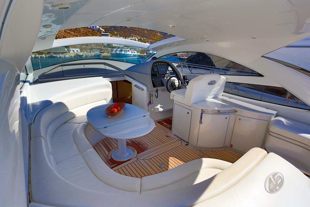 Pershing 46 Yacht outdoor rest area, Deck, Sofa, Table, Exterior