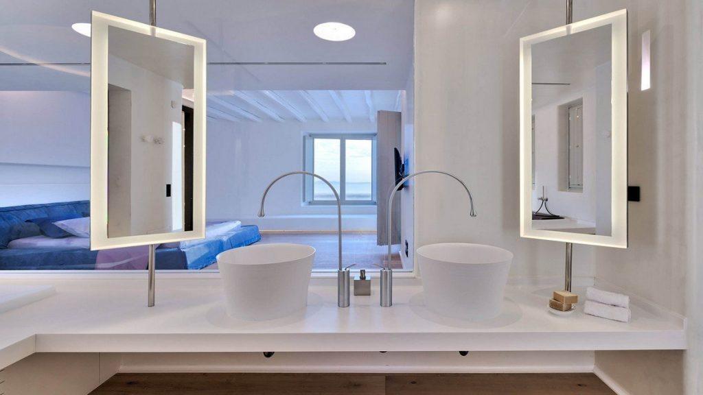 Villa Aphrodite, Agia Sofia, Mykonos, bathroom, washbasin, mirror, bedroom, queen size bed