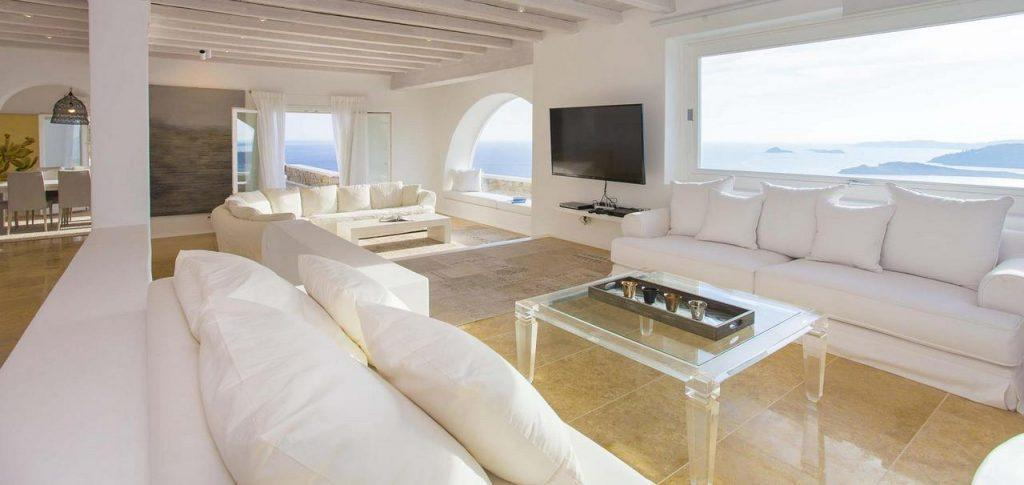spacious living room with comfortable furniture to relax after a hard day