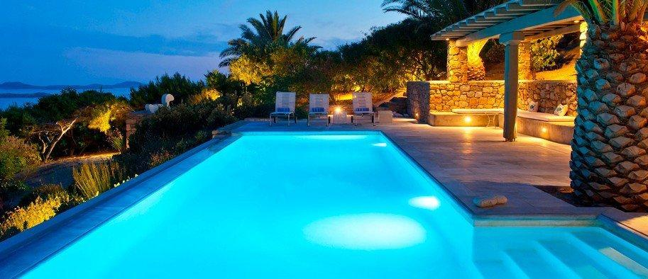 Grand House Villa Tourlos Mykonos Swimming pool at the night, Palm tree, pool stairs