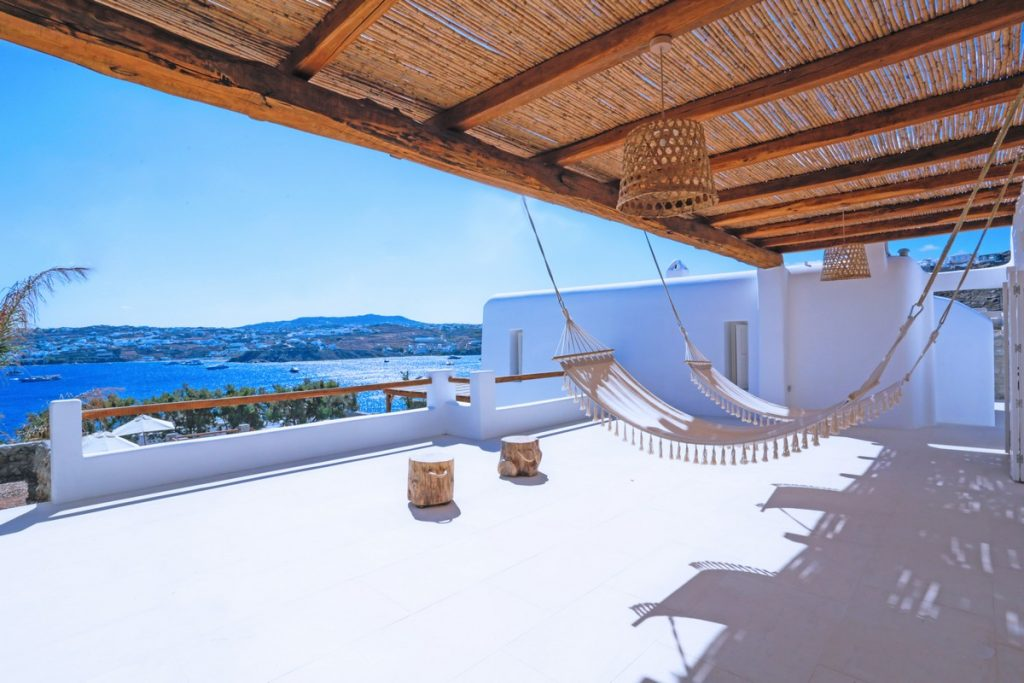 Villa Angelica Kanalia Mykonos outdoors hammock with the panoramic view