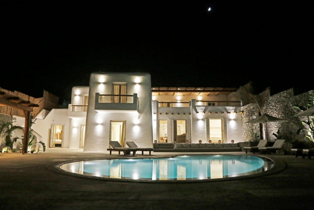 Villa Angelica Kanalia Mykonos outdoors pool at night