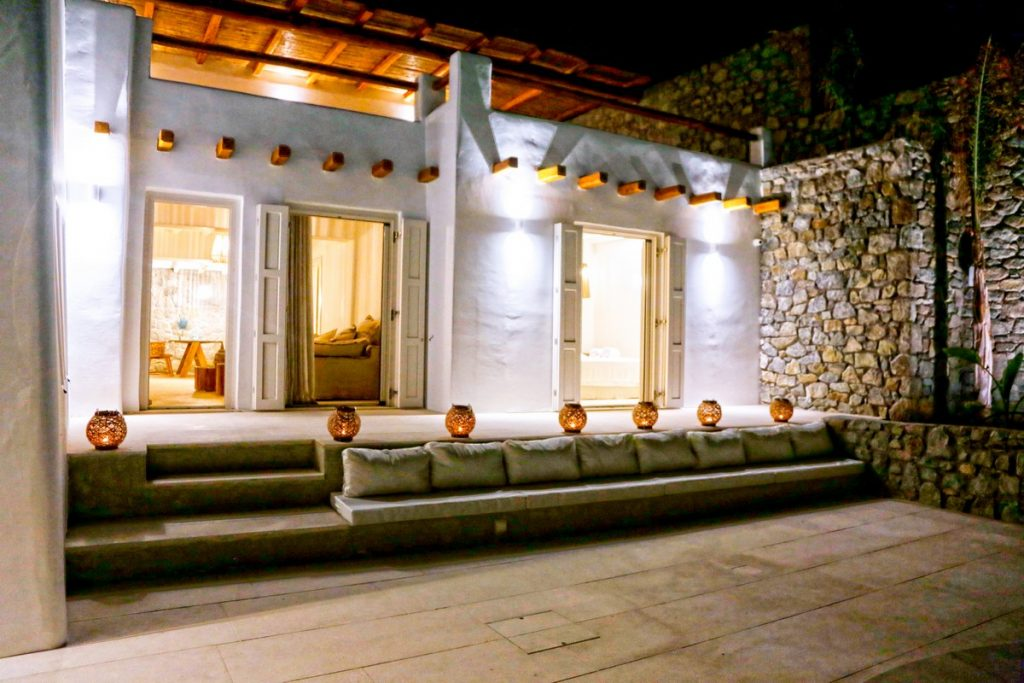 Villa Angelica Kanalia Mykonos outdoors lounge area at night