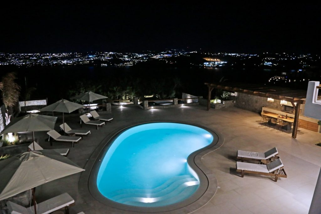 Villa Angelica Kanalia Mykonos outdoors pool at night 1