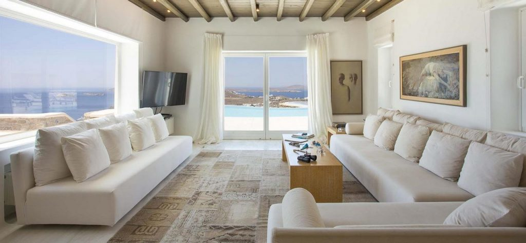 Villa Aurum Agios Lazaros living room, picture on the wall, flat screen tv