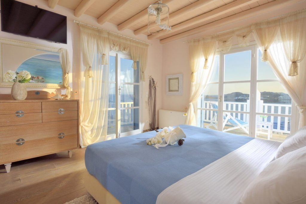 Villa Blue Ornos Mykonos 2nd Bedroom, tv, balcony, sea view