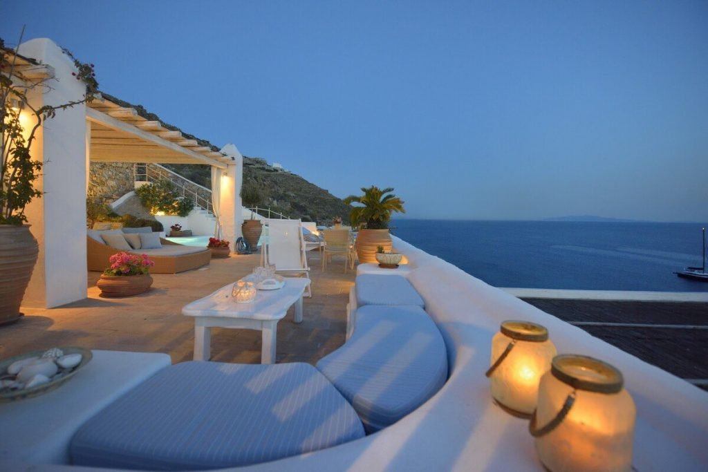 Villa Blue Ornos Mykonos lounge area, panoramic view, candles