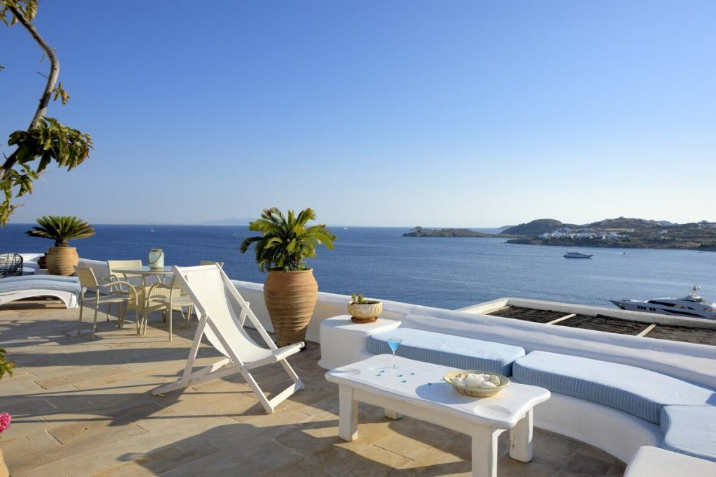 Villa Blue Ornos Mykonos Panoramic view, small palm tree, coffee table