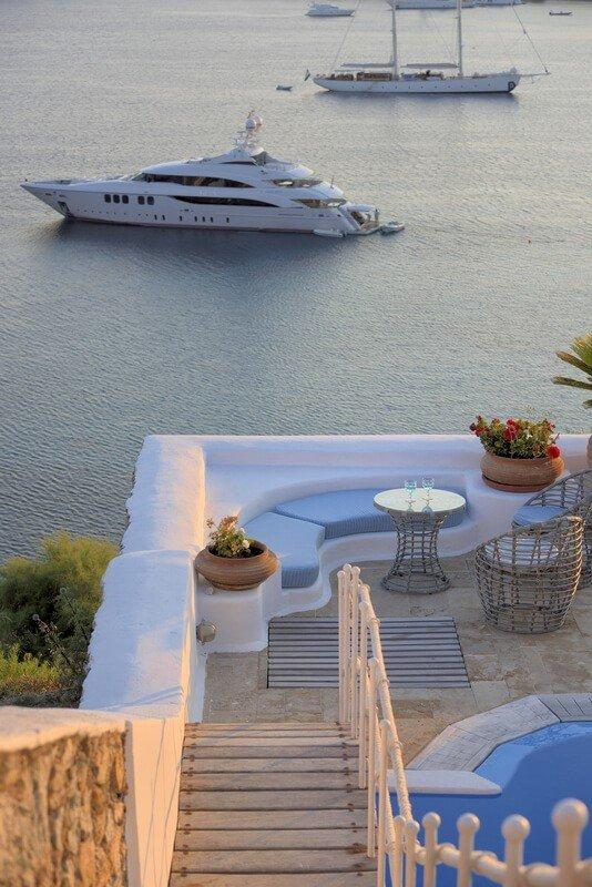 Villa Blue Ornos Mykonos Panoramic view, yacht, sail boat, coffee table, stairway