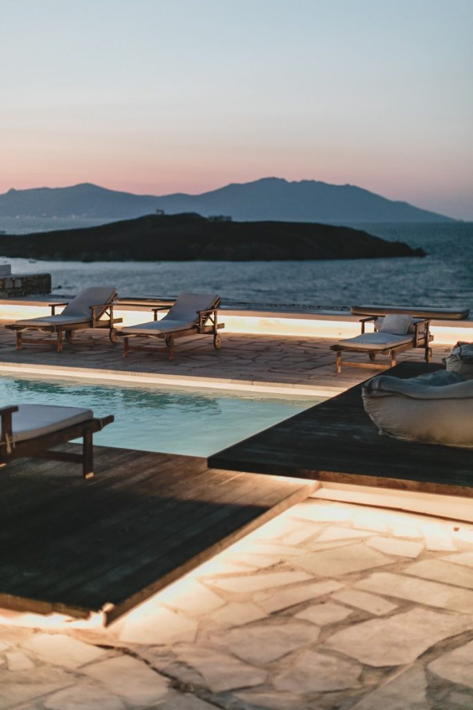Villa Felicity Kanalia Mykonos Outdoors sunbeds pool with the panoramic view at night