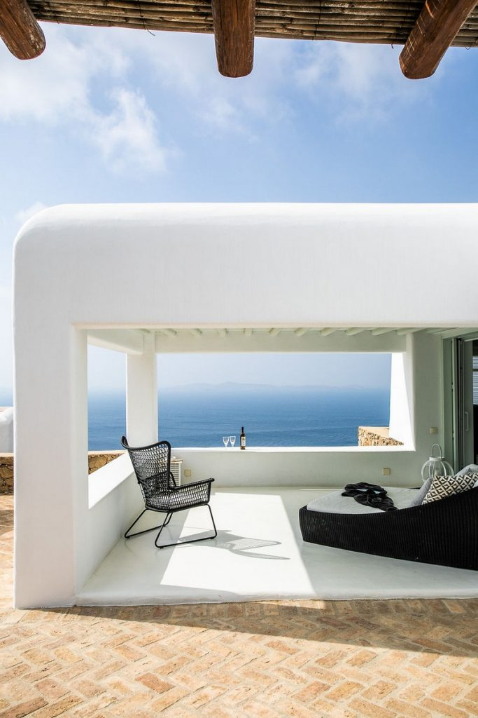 Villa Grace Agios Stefanos Mykonos Lounge area with the panoramic view 1