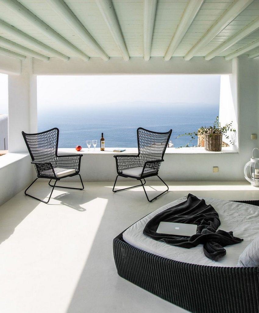 Villa Grace Agios Stefanos Mykonos Lounge area with the panoramic view