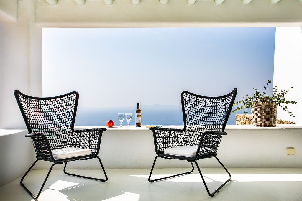 Villa Grace Agios Stefanos Mykonos Lounge area with the panoramic view 3