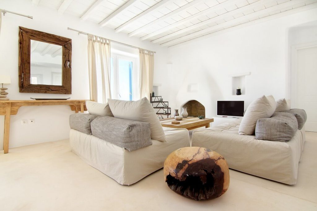 Villa Jennifer Fanari Mykonos living room, sofa, tv, mirror, coffee table