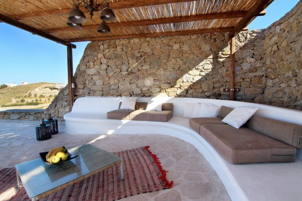 Villa Jennifer Fanari Mykonos outdoor rest area, coffee table, fruit