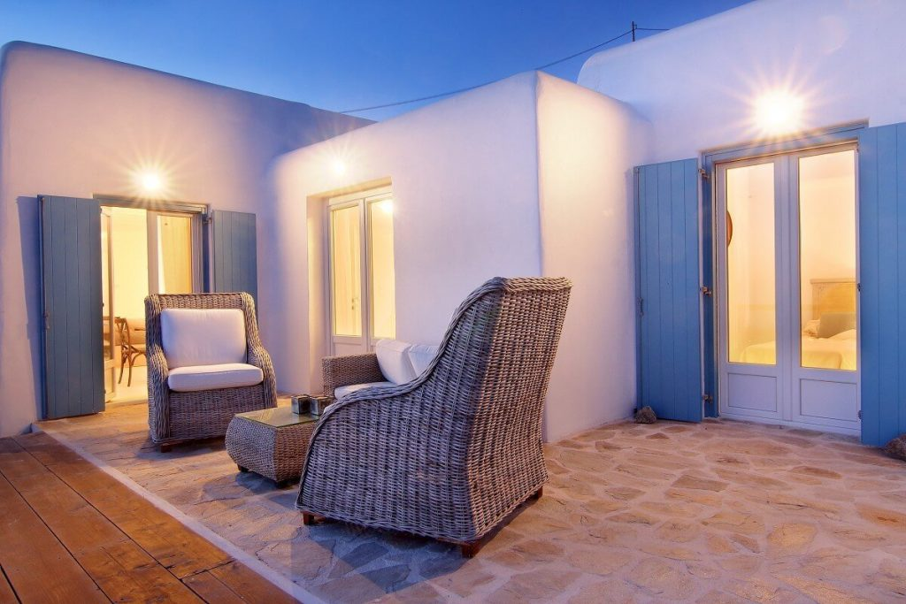 Villa Jennifer Fanari Mykonos outdoors, two chairs, coffee table, sofa