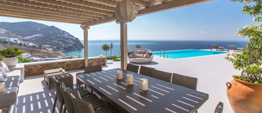Villa Leandro Elia Mykonos outdoors, lounge area, panoramic view, dining area