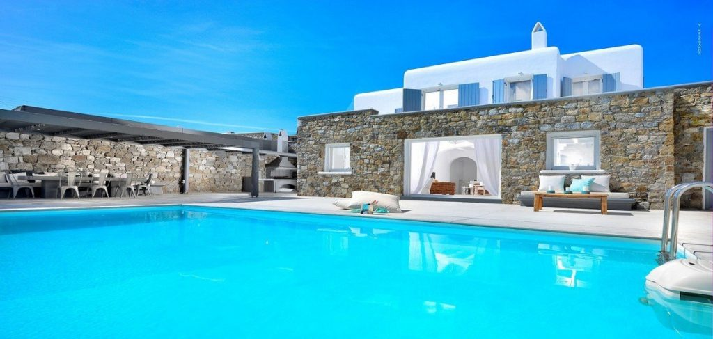 Villa Nea Kanalia Mykonos exterior, swimming pool, sofa, coffee table