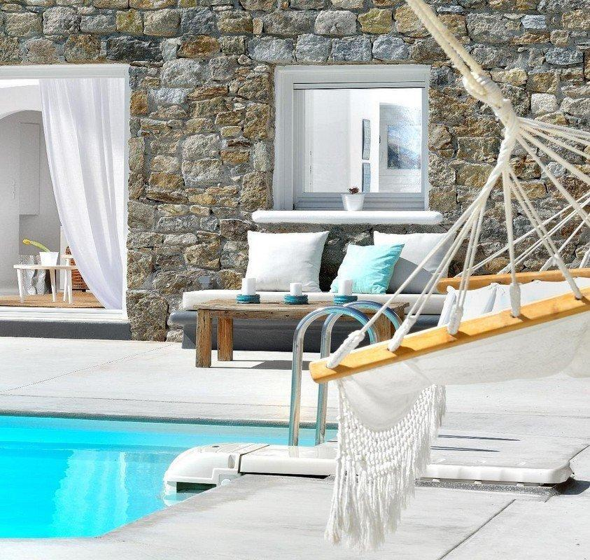 Villa Nea Kanalia Mykonos swimming pool, pool stairs