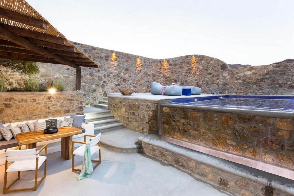 Villa Romance Panormos Mykonos swimming poo, stairs, lounge area, mini garden