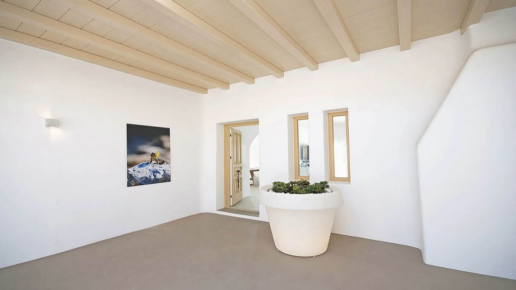 Villa Soto Houlakia Mykonos open roof hall, mini garden and the picture