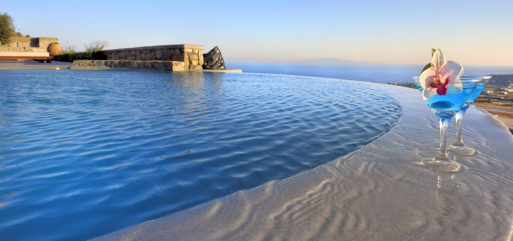 Villa Evangeline Kounoupas Mykonos pool and drinks with panoramic romantic view 1