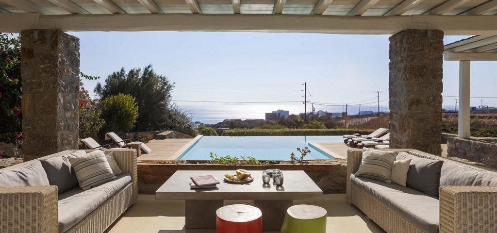 Villa Seraphina Kalafatis Mykonos Outdoors lounge area and pool with the panoramic view