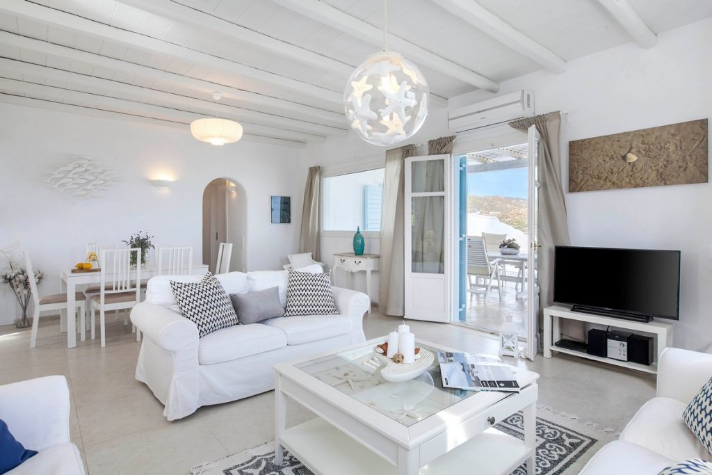 Villa Stella Kalafatis Mykonos Living room and dining area 1