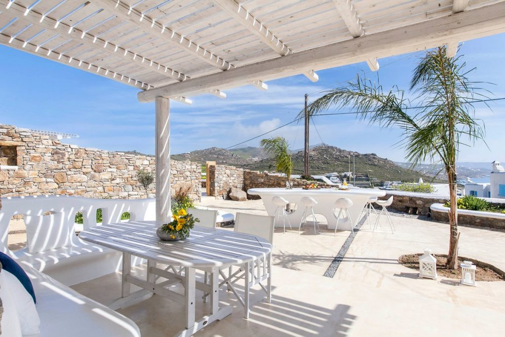Villa Stella Kalafatis Mykonos Outdoor lounge and the panoramic view 2