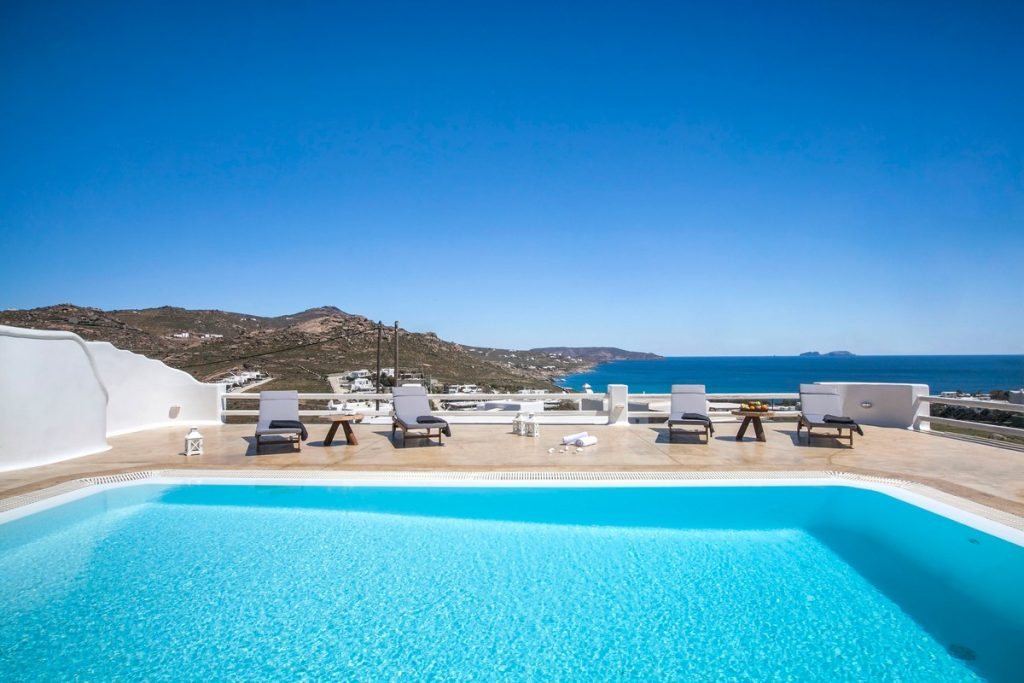 Villa Stella Kalafatis Mykonos pool sunbeds and the panoramic view 2