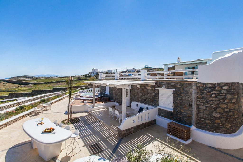 Villa Stella Kalafatis Mykonos Outdoor lounge and the panoramic view