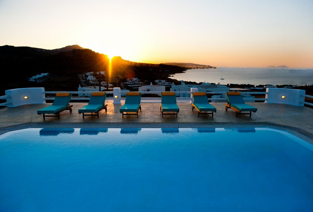Villa Stella Kalafatis Mykonos pool sunbeds and the panoramic view 1