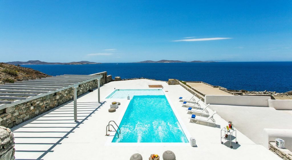 Villa Addison Pouli Mykonos outdoors and pool from above with the panoramic view 1